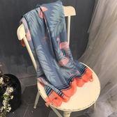 童趣減齡紗巾女春秋韓版百搭霧霾藍火烈鳥圖案長款棉麻民族風圍巾