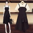 套裝裙上衣背心裙L-4XL中大尺碼棉花糖洋氣顯瘦中長款裙子兩件套4F082.8862韓依紡