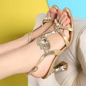 粗跟涼鞋 女水鑽露趾高跟羅馬鞋【多多鞋包店】z2350