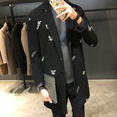 毛呢大衣-中長版加厚純色刺繡秋冬羊毛男外套2款73qc29[巴黎精品]
