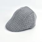 鴨舌帽 簡單復古格子扁帽NHG18