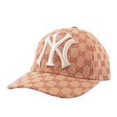 【GUCCI】洋基LOGO緹花布logo棒球帽 539836 4HF16 8300