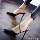 新款韓版尖頭涼鞋細跟高跟鞋仙女風黑色綢緞面2021春夏季水鑚婚鞋 璐璐