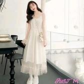 蕾絲洋裝女年新款蕾絲連身裙秋冬超仙氣質網紗內搭打底裙春季新品