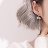 糖果色圓球流蘇耳環銀簡約潮系耳釘