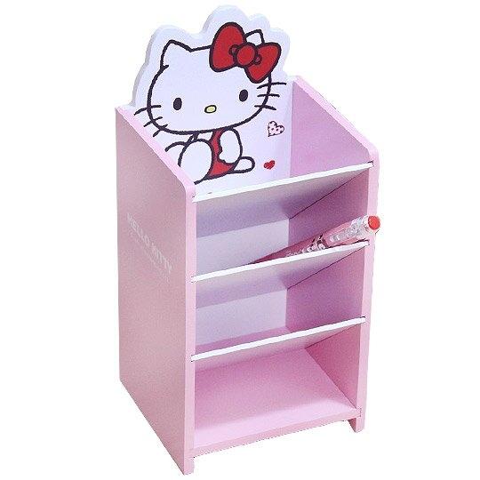 〔小禮堂〕Hello Kitty 桌上型木製直式四層斜口收納盒《粉》置物盒.筆筒.刷具筒 4710374-18501