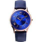 Relax Time RT58 經典學院風格腕錶-藍x玫瑰金框/42mm RT-58-12M
