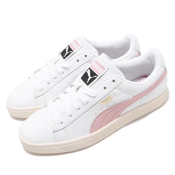 Puma 休閒鞋 Basket Classic 米白 粉紅 奶油底 皮面 女鞋 【ACS】 35436735