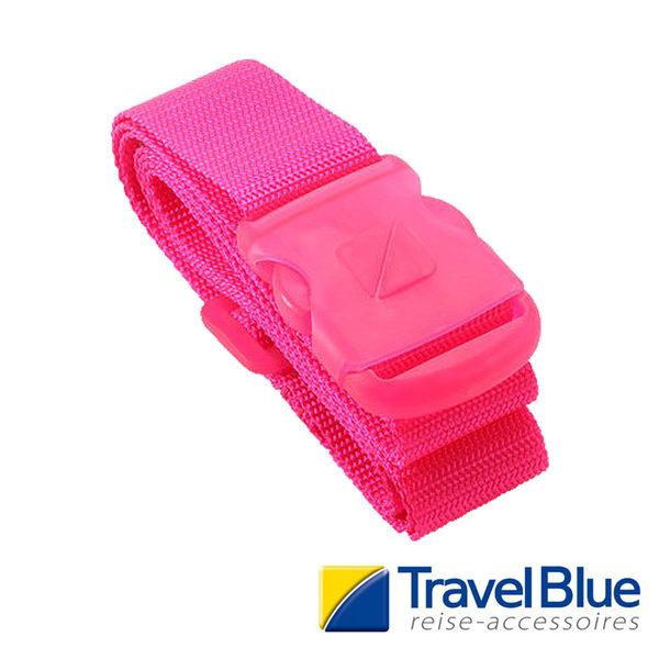 英國Travel Blue藍旅 2吋螢光旅行束帶 粉紅色 TB048B 露營│登山│戶外│旅遊│出國│行李束帶