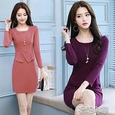 OL洋裝秋裝韓版顯瘦OL假兩件套打底包臀裙子職業女裝遮肚子一步連身 快速出貨