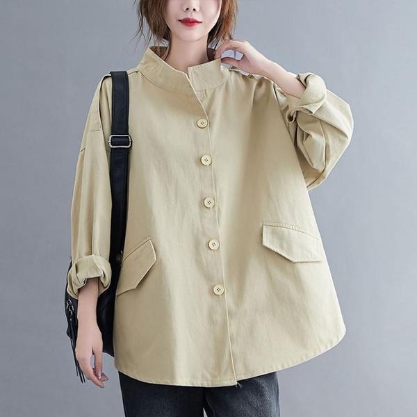 大碼外套 風衣2020秋季新款韓版寬松氣質顯瘦百搭外套