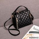 三用包-HENDOZ.經典韓版菱格立體三用包(黑色)JC001