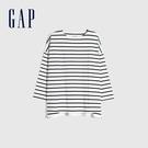 Gap女裝 簡約風格純色圓領長袖T恤 656453-黑白條紋