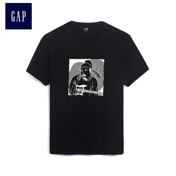 Gap男裝 創意音樂風格印花短袖T恤 488144-正黑色