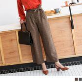 《BA3829》英倫風混紡羊毛格紋毛呢寬褲附綁帶 OrangeBear