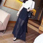 正韓2019夏季新款長裙半身裙女雙側開叉雪紡紗裙沙灘裙顯瘦包臀半裙