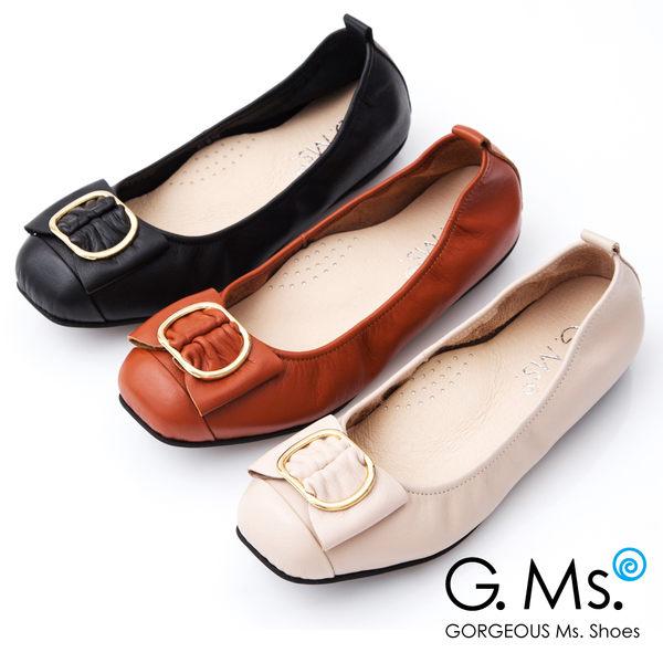 G.Ms.*MIT系列-牛皮金屬穿釦蝴蝶結娃娃鞋*橘色