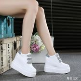 鬆糕鞋新款秋季女士皮面超高跟運動休閒鞋單鞋鬆糕鞋厚底女鞋 zm7044【每日三C】