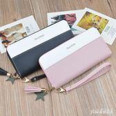 錢包新款女士手拿錢包時尚長款韓版潮撞色拼接拉鏈學生手提手機包 qf8894『Pink領袖衣社』