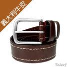 TALERF單層壓車線休閒皮帶(咖啡色/...