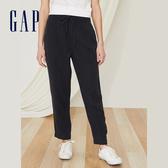 Gap女裝 簡約純色鬆緊休閒褲 442185-純正黑
