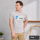 【JEEP】吉普車色塊拼接圖騰短袖TEE(灰色)