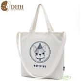 正韓新品帆布包肩背包斜背包印花購物袋簡約環保袋可愛女包  快速出貨