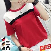 圓領黑一線拼色T恤(3色)M~3XL【431591W】【現+預】☆流行前線☆