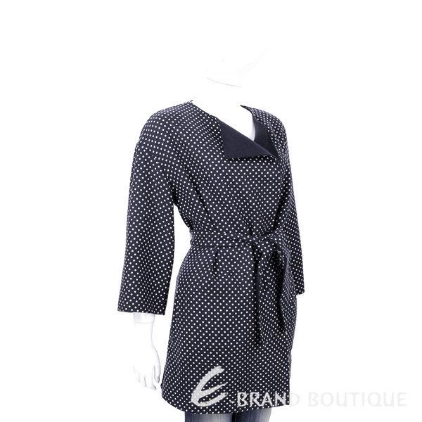 Max Mara-WEEKEND 深藍點點雙面穿綁腰羊毛外套(90%LANA) 1610325-34