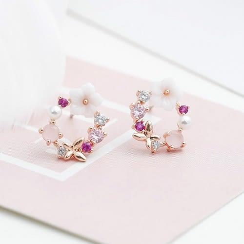 【NiNi Me】夾式耳環 清新甜美花環鋯石珍珠貝殼花朵夾式耳環 夾式耳環 E0119