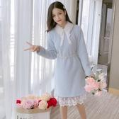 網紅秋冬季蕾絲拼接加厚長袖洋裝女新款氣質收腰中長裙子潮 伊衫風尚