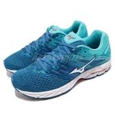 Mizuno 慢跑鞋 Wave Shadow 2 Wide 藍 白 二代 運動鞋 雲波浪 美津濃 女鞋【ACS】 J1GD1897-21