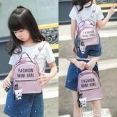 女童休閒旅遊小背包女孩時尚可愛卡通雙肩公主兒童迷你包包 七色堇