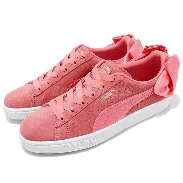 【五折特賣】Puma 休閒鞋 Suede Bow Wns 粉橘紅 白 蝴蝶結 緞帶 女鞋 休閒鞋 【PUMP306】 36731701
