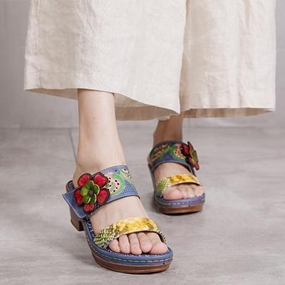 花朵坡跟涼鞋 真皮手工女鞋 外穿休閒涼鞋/2色-夢想家-標準碼-0409
