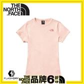 【The North Face 女 吸排快乾防曬短T恤《粉》】49AC/排汗衣/短袖上衣/圓領T恤