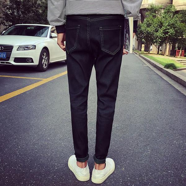 長褲 時尚簡單風格 顯瘦款  韓版丹寧素面彈性牛仔褲【M6863】 艾咪E舖 男女可穿