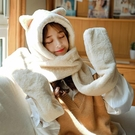 護耳帽 兔子耳朵帽子女秋冬季可愛冬天毛絨圍巾一體護耳保暖手套三件套潮 星隕閣