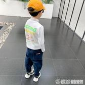 兒童打底衫秋冬新款洋氣男童長袖T恤韓版中大童高領條紋上衣 快速出貨