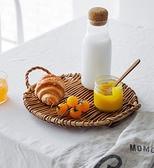 托盤 藤編托盤長方形 家用水果盤品點心蛋糕竹編日式面包籃創意