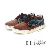 XES 女鞋 麂皮休閒鞋 簡約拼色 刷皮個性休閒鞋 個性咖(女)
