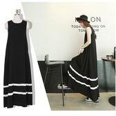 【免運】新品新款女夏季莫代爾大擺裙寬鬆無袖大碼背心長裙黑色韓版連身裙