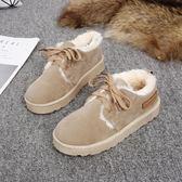 雪地靴女韓版百搭防滑學生加絨保暖棉鞋平底繫帶面包鞋潮   蜜拉貝爾