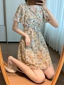 碎花洋裝 2021新款赫本風雪紡翠花裙法式短袖碎花連身裙女夏季收腰氣質裙子 晶彩 99免運
