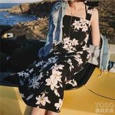 普吉島沙灘裙子新款海灘海邊度假韓國超仙吊帶雪紡連身 優尚良品