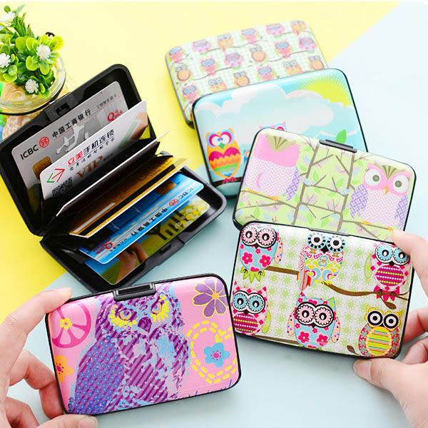 【BlueCat】彩繪貓頭鷹硬殼防消磁風琴卡包套 卡片夾 名片簿