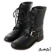 amai酷勁女孩風綁帶中筒軍靴 黑