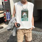 背心 男士無袖t恤男個性潮流坎肩男夏季寬鬆背心男運穿 moon衣櫥