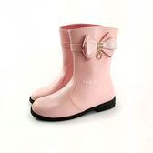 氣質 百搭素面 蝴蝶結 中童皮質馬靴 《7+1童鞋》A745 粉色