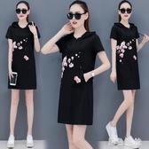 休閒連帽衛衣洋裝2020新款流行時尚中長款寬鬆夏天連身裙潮 LF6369『黑色妹妹』